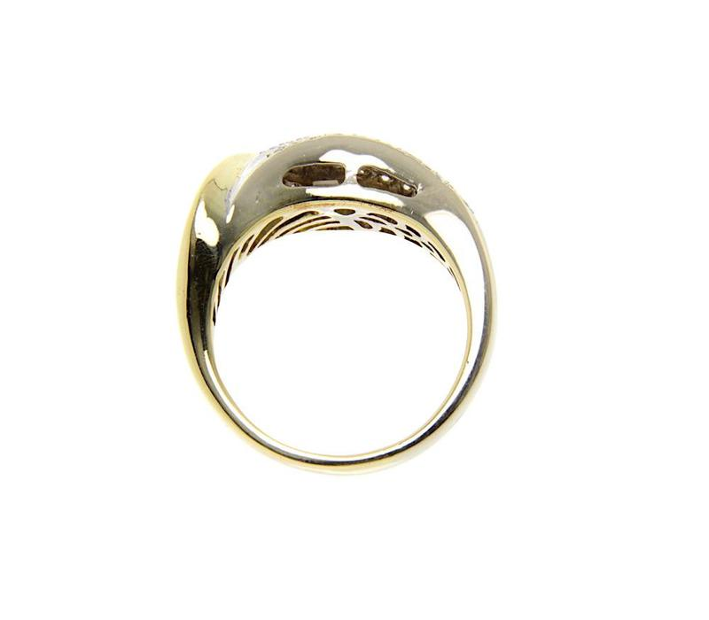 Gouden bicolour fantasie ring met diamant 18 krt