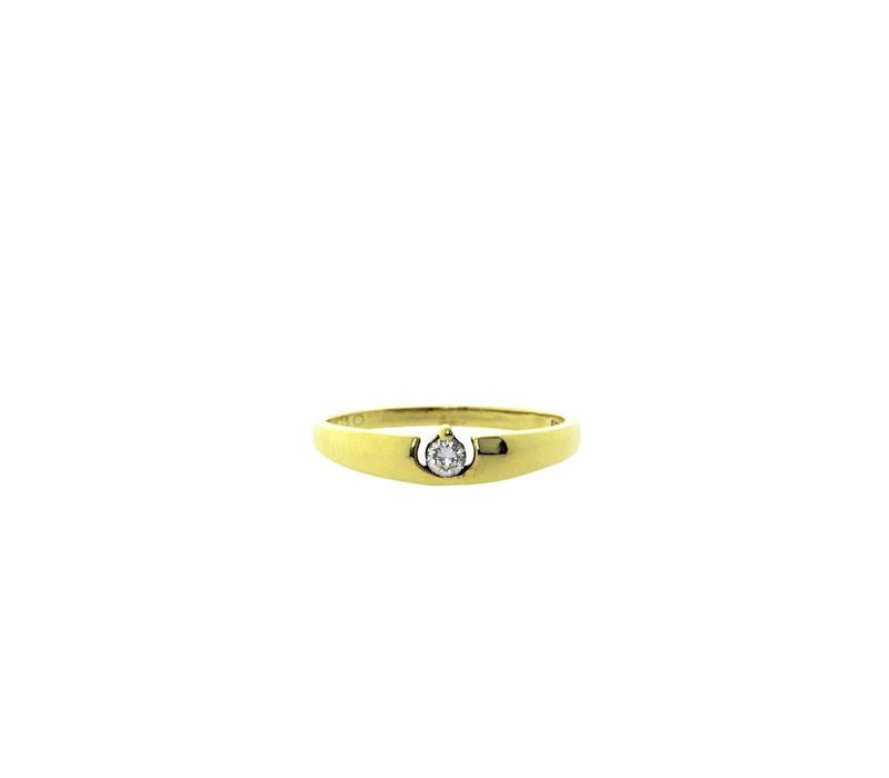 Gold ring with diamond 14 crt