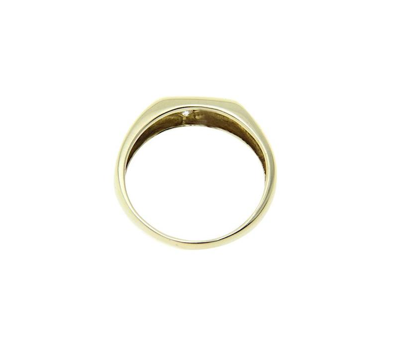 Gold men's ring with diamond 14 crt