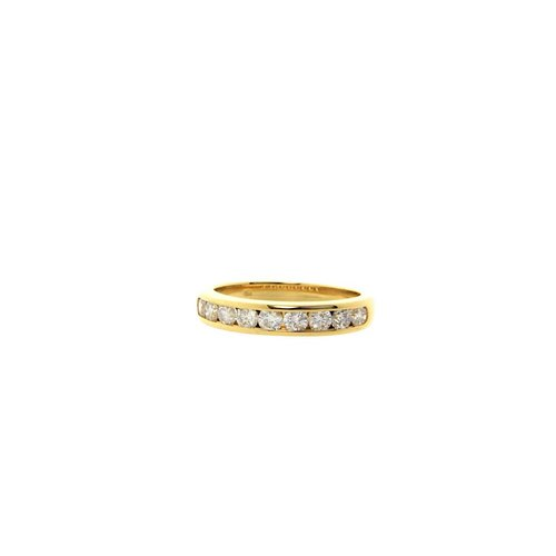 Gold ring with diamond in railing 18 krt