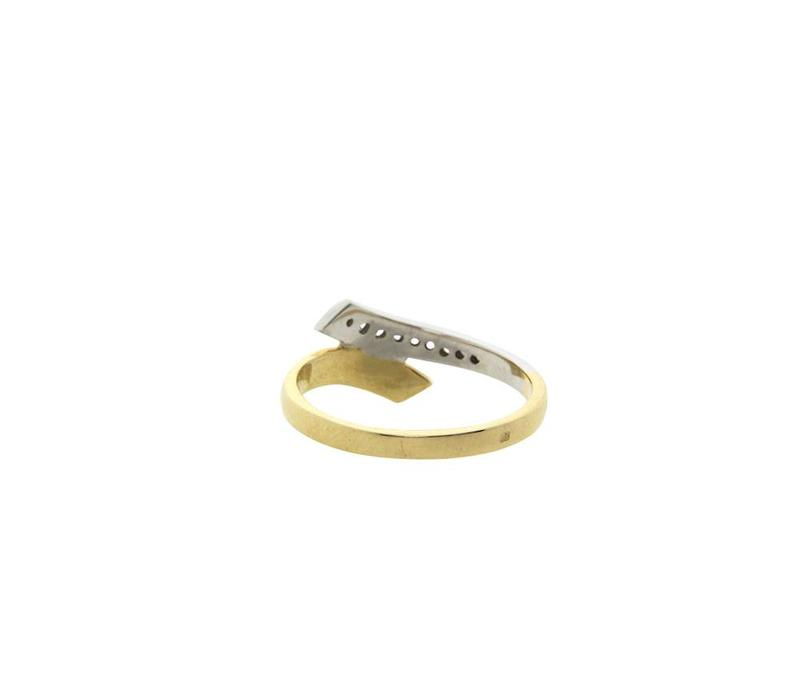 Golden bicolour ring with diamond 14 crt