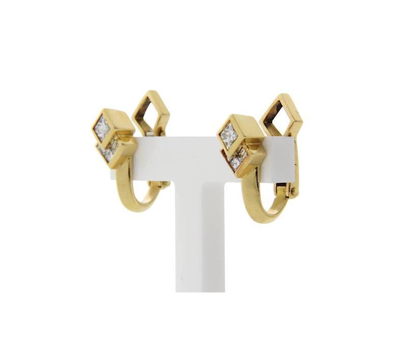 Goldene Ohrclips mit Diamant 18 Karat