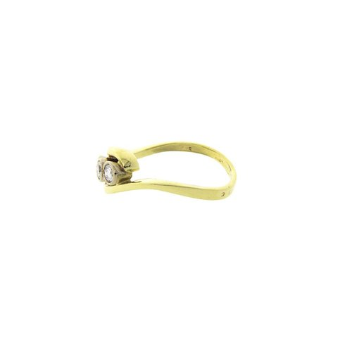 Goldener Ring mit Diamant 14 Cr