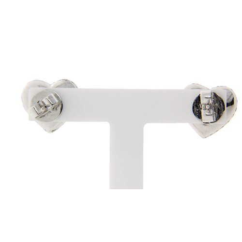 White gold ear studs heart shape with 18 kt diamond * New