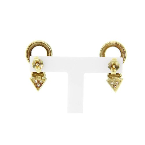 Gold ear studs with diamond 14 crt * New