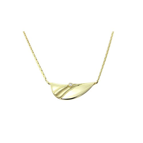 Golden necklace with diamond pendant 14 krt * New
