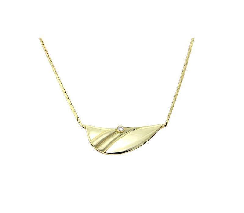 Gold necklace with diamond pendant 14 krt * New