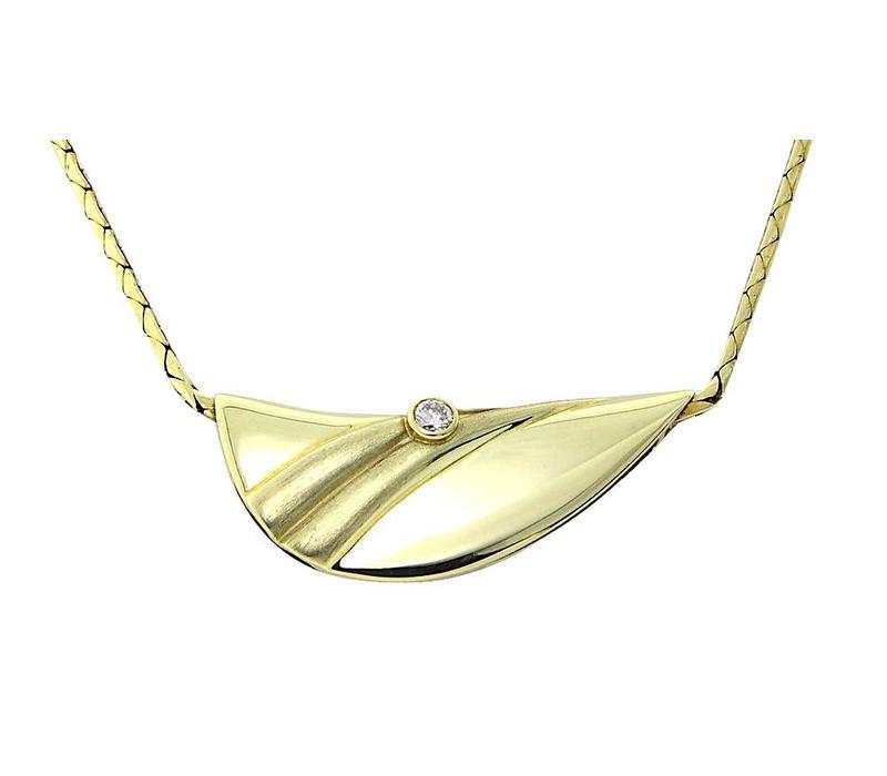 Gouden collier met diamant hanger 14 krt *Nieuw