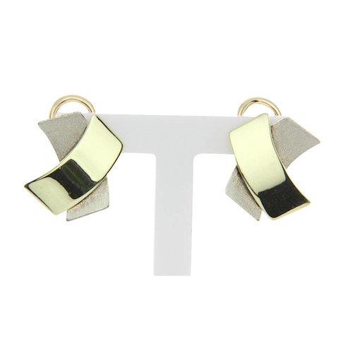 Golden ear studs with bicolour 14 crt clip