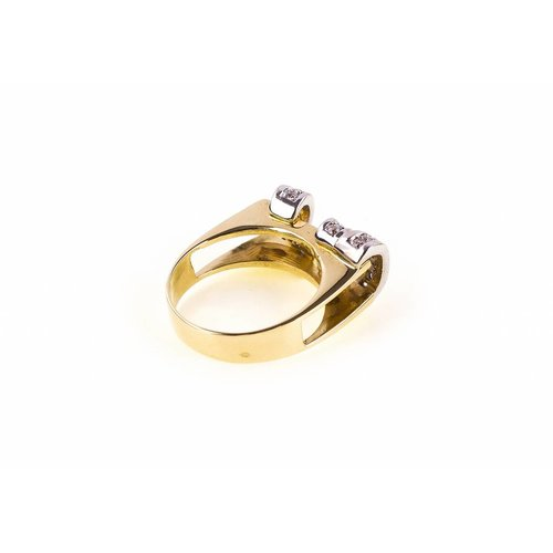 Bicolour gold ring with zirconia 14 krt