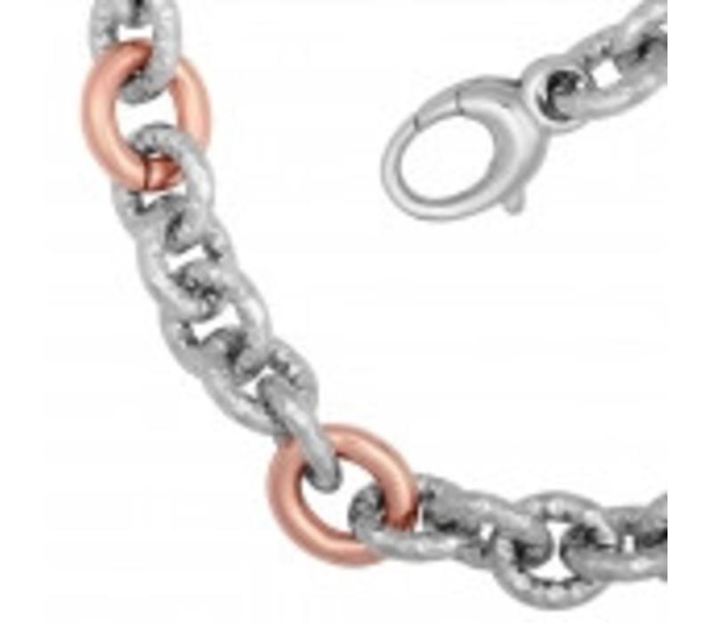 La mode rose verguld staal dames collier *nieuw