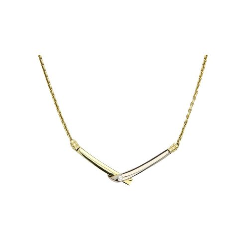 Golden bicolour necklace with 14 kt diamond