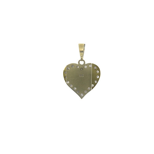 Golden heart pendant with diamond 14 krt
