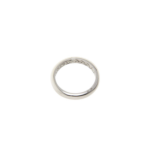 White gold smooth ring on Blush 14 krt * new