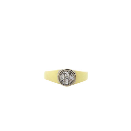 Gold ring with princess cut diamond 14 krt