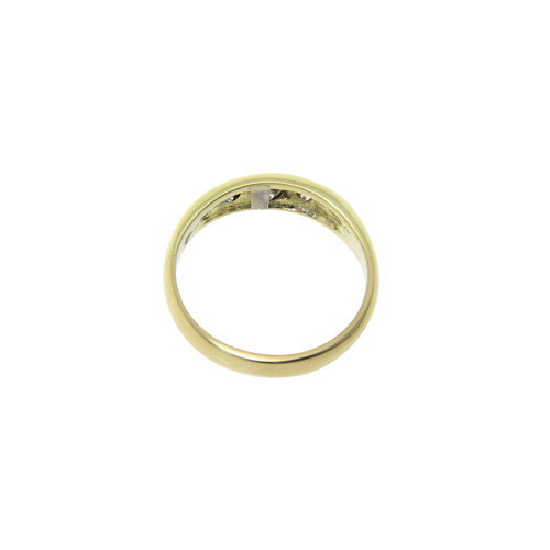 Smooth gold ring with diamond 14 crt