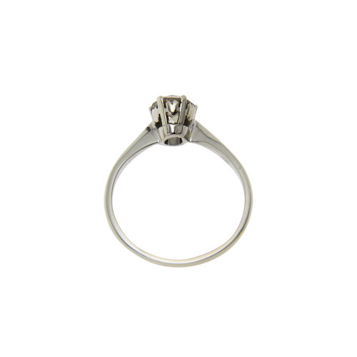 White gold solitaire ring with diamond 0.90 cm. 14 krt