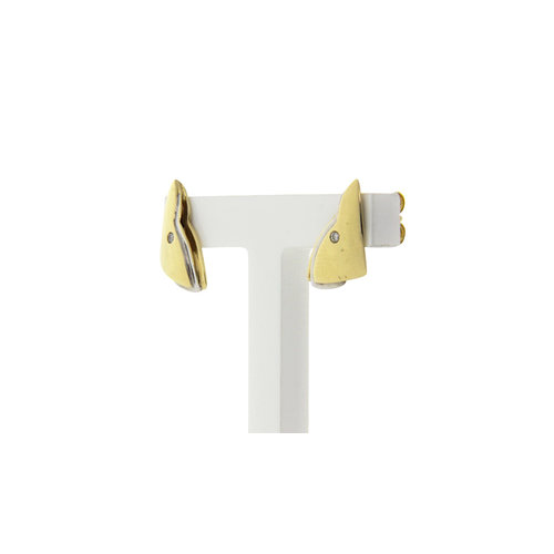 Golden ear studs bicolour with diamond 14 crt