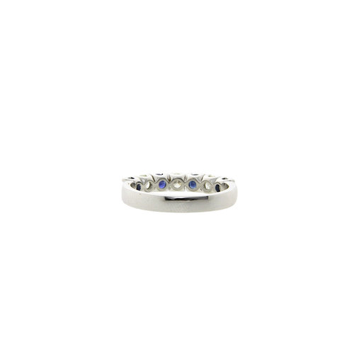 White gold ring with diamond and sapphire 14 crt * new