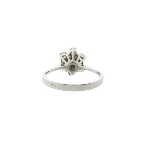 Witgouden entourage ring met diamant 14* nieuw