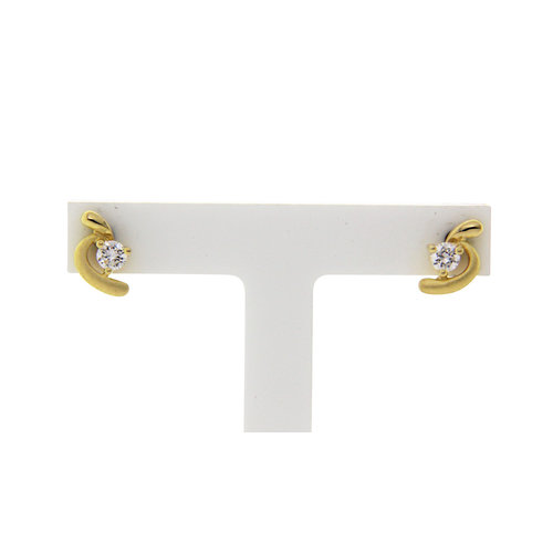 Gold ear studs with zirconia 14 crt