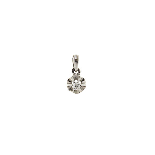 White gold solitaire pendant with diamond 14 crt