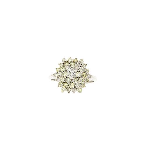 Weißgold Doppel-Gefolgsring mit Diamant 14 crt