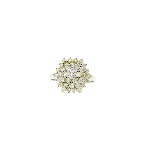 Witgouden dubbele entourage ring met diamant 14 krt