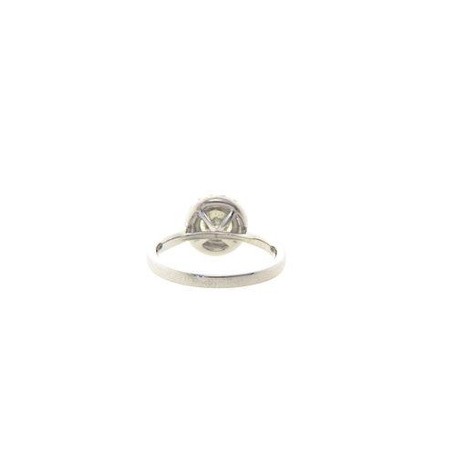 Entourage-Ring aus Weißgold mit Diamant, 18 kt * neu