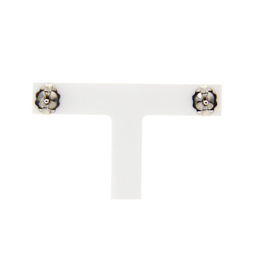 White gold solitaire ear studs with brown diamond 14 krt * new