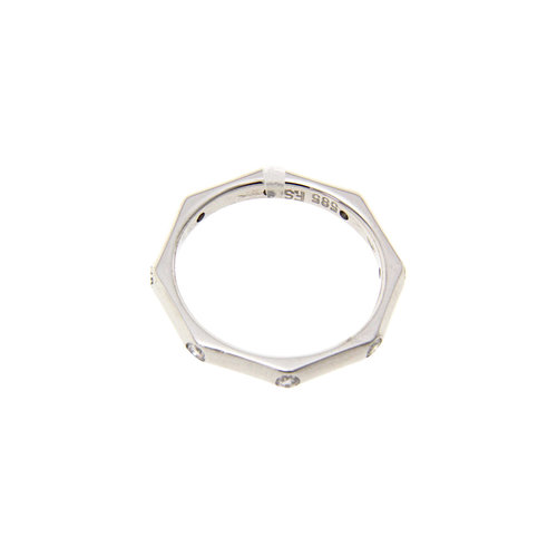 White gold octagon ring with diamond 14 crt