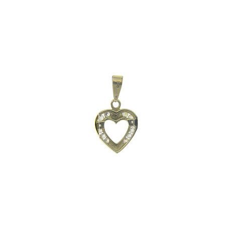 Gold heart pendant with zirconia 14 krt