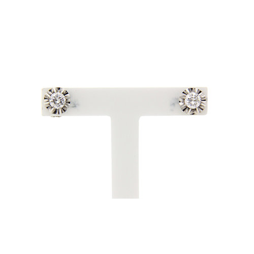 White gold solitaire earrings with diamond 14 krt