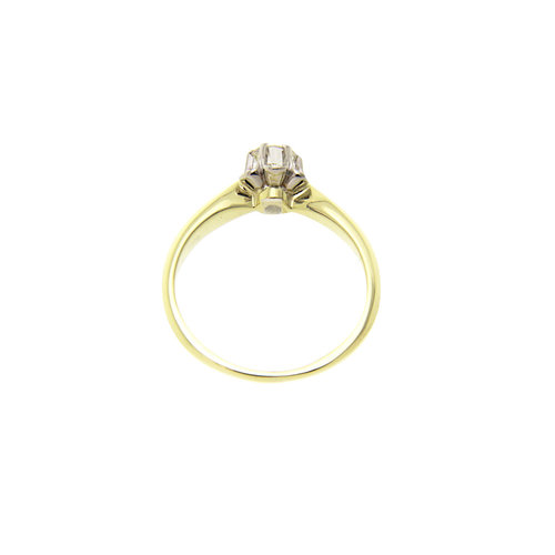 Gold solitaire ring with diamond 14 krt