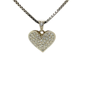 White gold heart pendant with diamond 14 krt