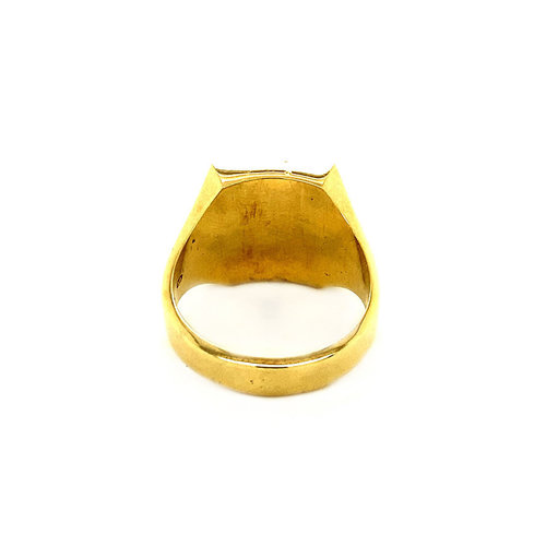 Gold men's signet ring with onyx 14 krt