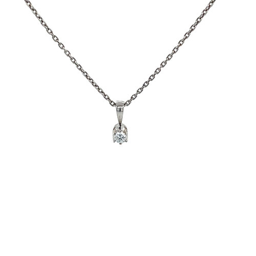 White gold solitaire pendant with diamond 18 krt * new