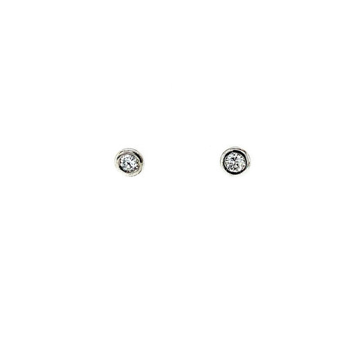 White gold solitaire earrings with diamond 14 krt * new
