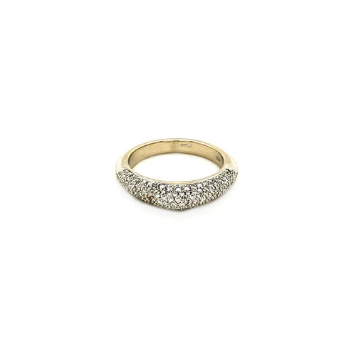 White gold pave ring with diamond 18 krt