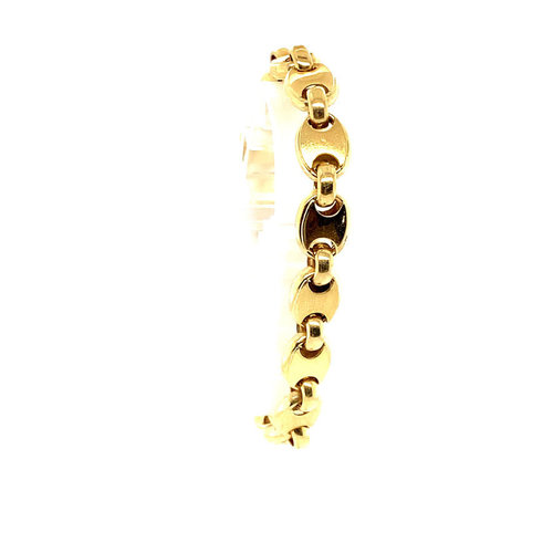 Golden coffee beans bracelet 14 krt
