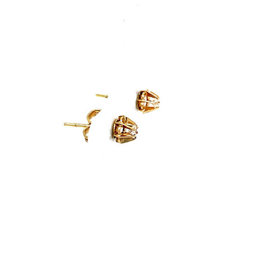 Gold solitaire ear studs with zirconia 14 krt
