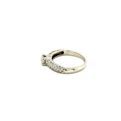 Weißgoldring mit Diamant 14 krt