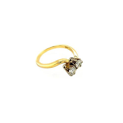 Gouden slagring met diamant 14 krt