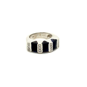 White gold ring with amethyst and diamond 18 krt