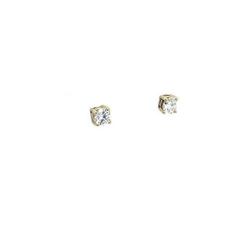 White gold solitaire ear studs with diamond 14 krt * new