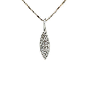 White gold pave pendant with diamond 14 krt