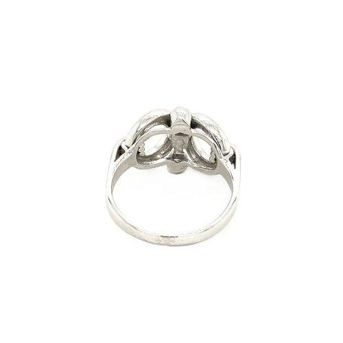 White gold fantasy ring 14 krt