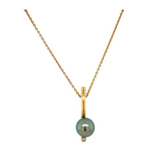 Rose gold necklace with tahito pearl and diamond 18 krt * new