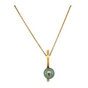 Rosegouden collier met tahitiparel en diamant 18 krt* nieuw