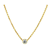 Gold necklace with solitaire pendant 14 krt * new
